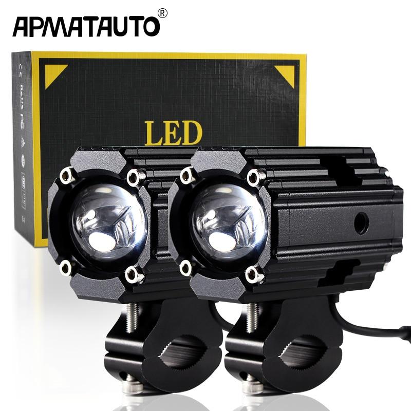 مصباح أمامي Led للدراجة النارية بعدسة مزدوجة Hi Lo beam 6000k مصباح إضاءة ضبابي مضاد للمياه خارجي ملحقات MOTO DRL لمبة 12 فولت