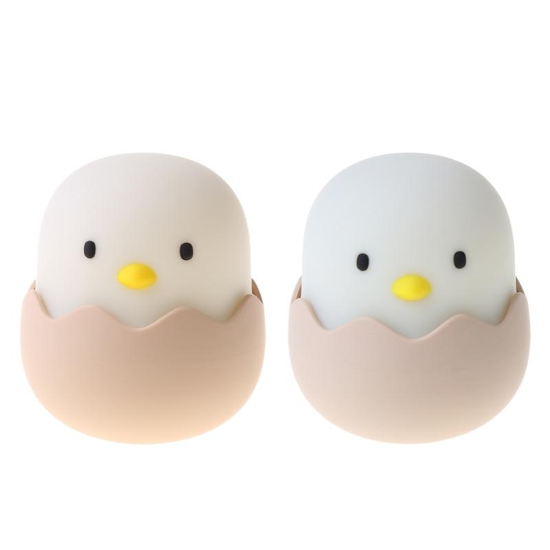 USB Cute Eggshell Chicken Night Light Creative Bedside LED Tumbler Sleeping Lamp 28GF