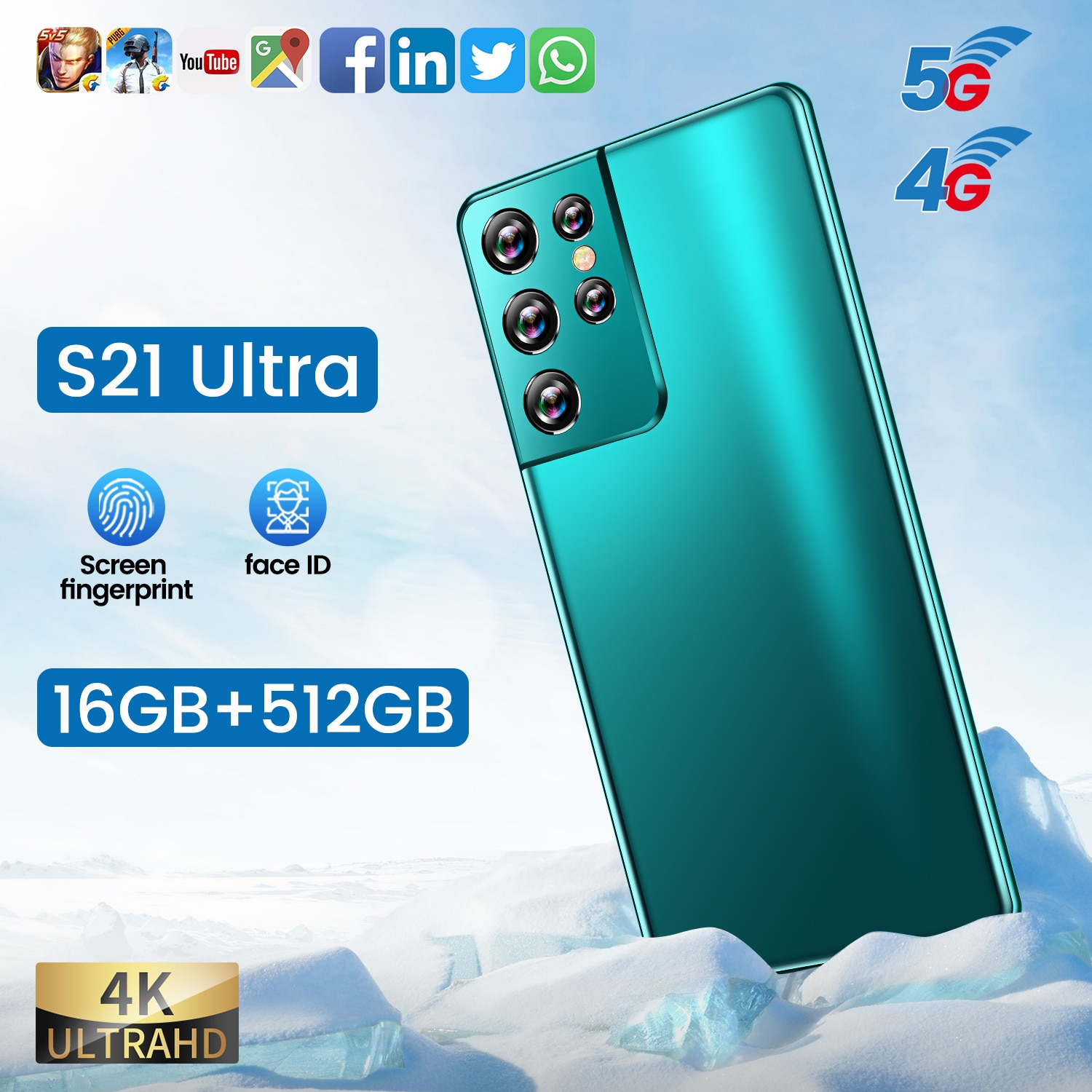 5G LTE Smartphone S21 Ultra 4G Sansumg Galay 11 Core Snapdragon888 6.1Inch Cellphone Fingerprint ID 16+512GB Mobile Phone