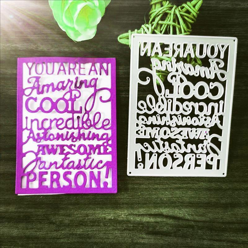 Troqueles de Metal plantilla para álbum de recortes de bricolaje con palabras sorprendente y genial decoración de tarjetas de papel y álbumes manualidades en relieve nuevas plantillas para 2019