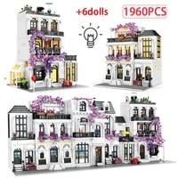 1960 pcs led friends city street view european flower building blocks architecture figures bricks toys for girls gift