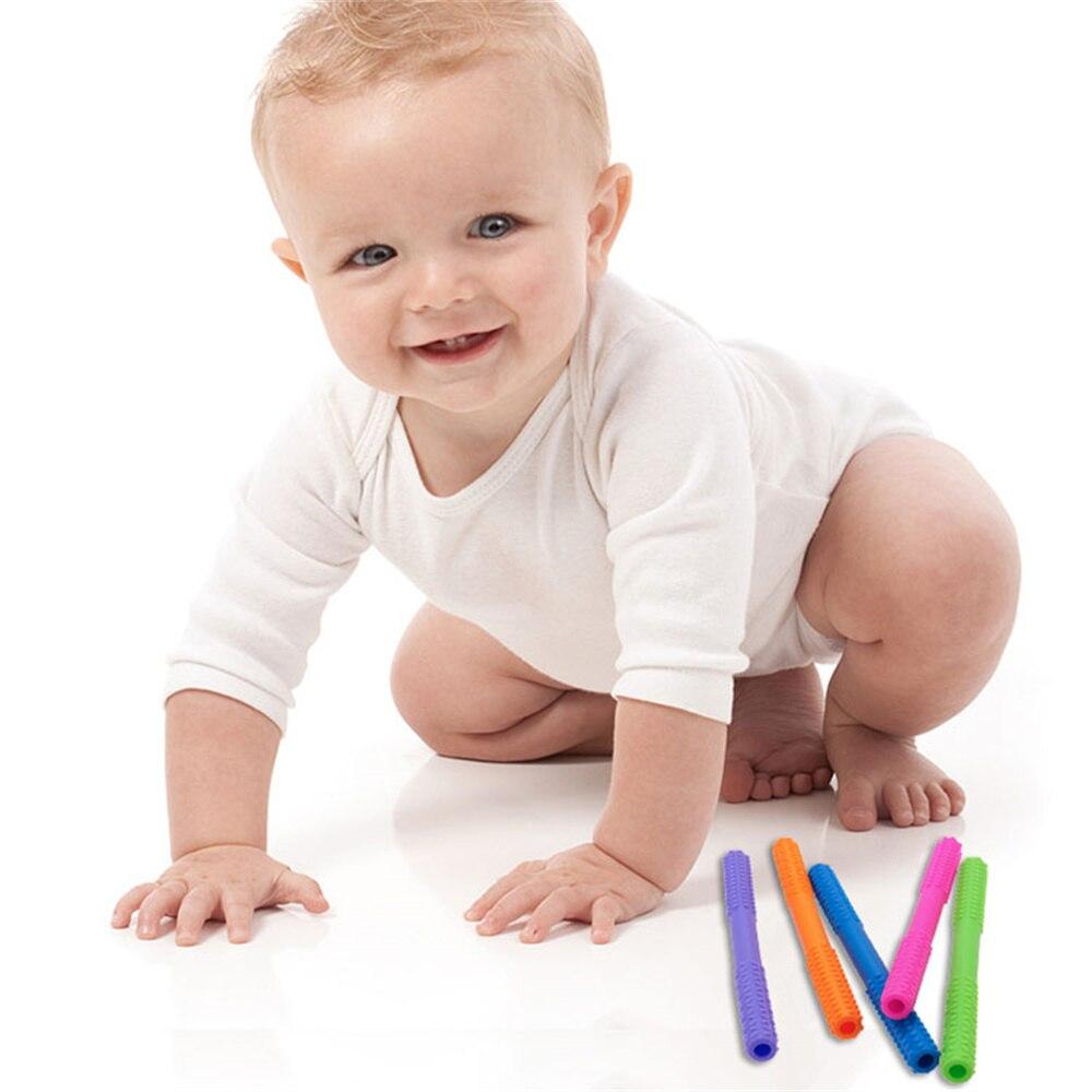 Силиконовая молярная солома, жевательная безопасная игрушка, пищевой класс, без БФА, детские игрушки для прорезывания зубов, товары для мам ...