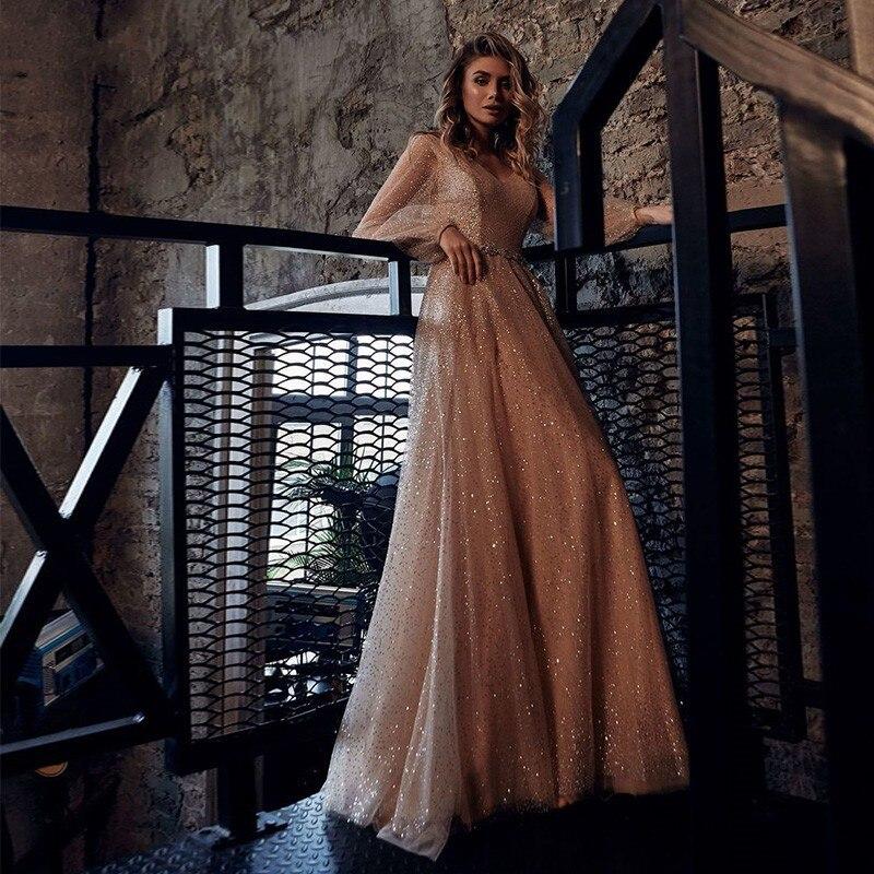 Vestidos de noiva шампанское блестящие вечерние платья 2021
