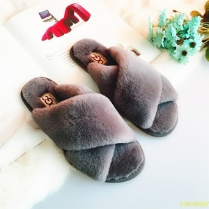 Women Home Slippers Winter Warm Shoes Woman Slip on Flats Slides Female Faux Fur Slippers 36-41 wholesale