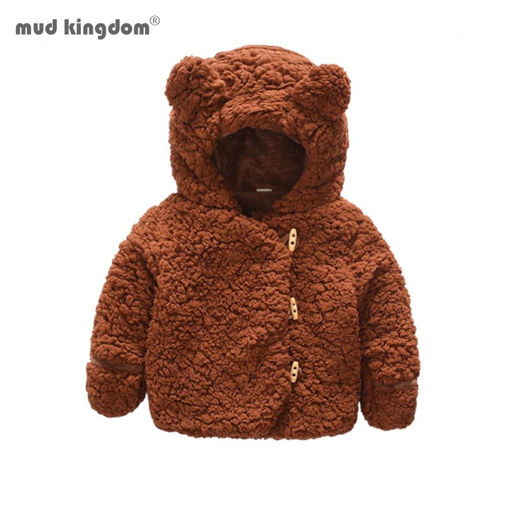 Mudkingdom bonito orelha do bebê hoodie sherpa menina menino jaqueta velo forrado quente jaqueta criança outerwear roupas