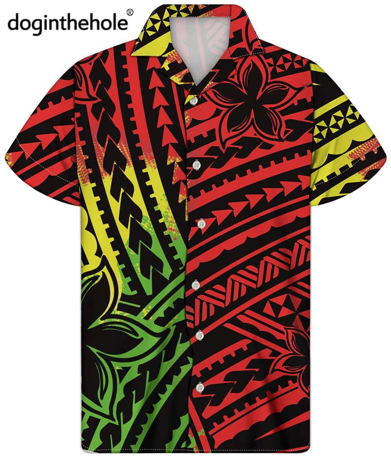 Doginthehole 2021 Fashion New Mens Hawaiian Shirt Colorful Ethnic Tribal Pattern Summer Short Sleeve Beach Shirts chemise homme