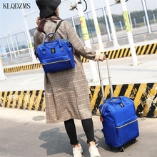 KLQDZMS Nylon coloré voyage grande capacité voyage sac de sport valise sur roues avec sac à dos unisexe étanche