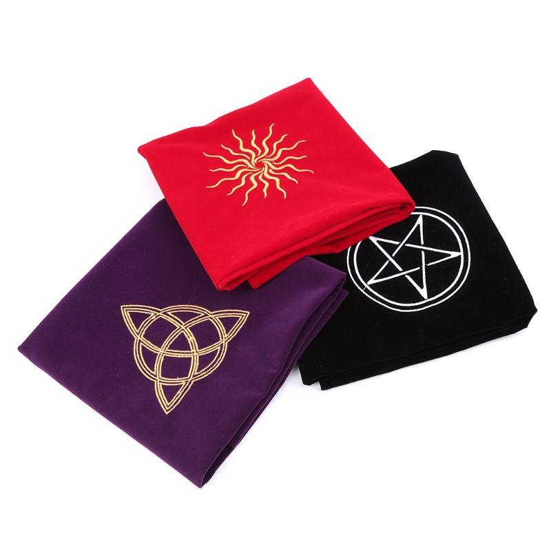 80 × 80cm aksamitny Tarot obrus ołtarz Wicca pentagram słońce haft gra planszowa