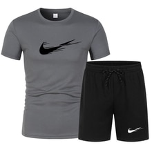2021 NEW Summer Men's Sportswear Brand Suit Fitness running clothes Casual Wear Men Suit T-shirt+gym