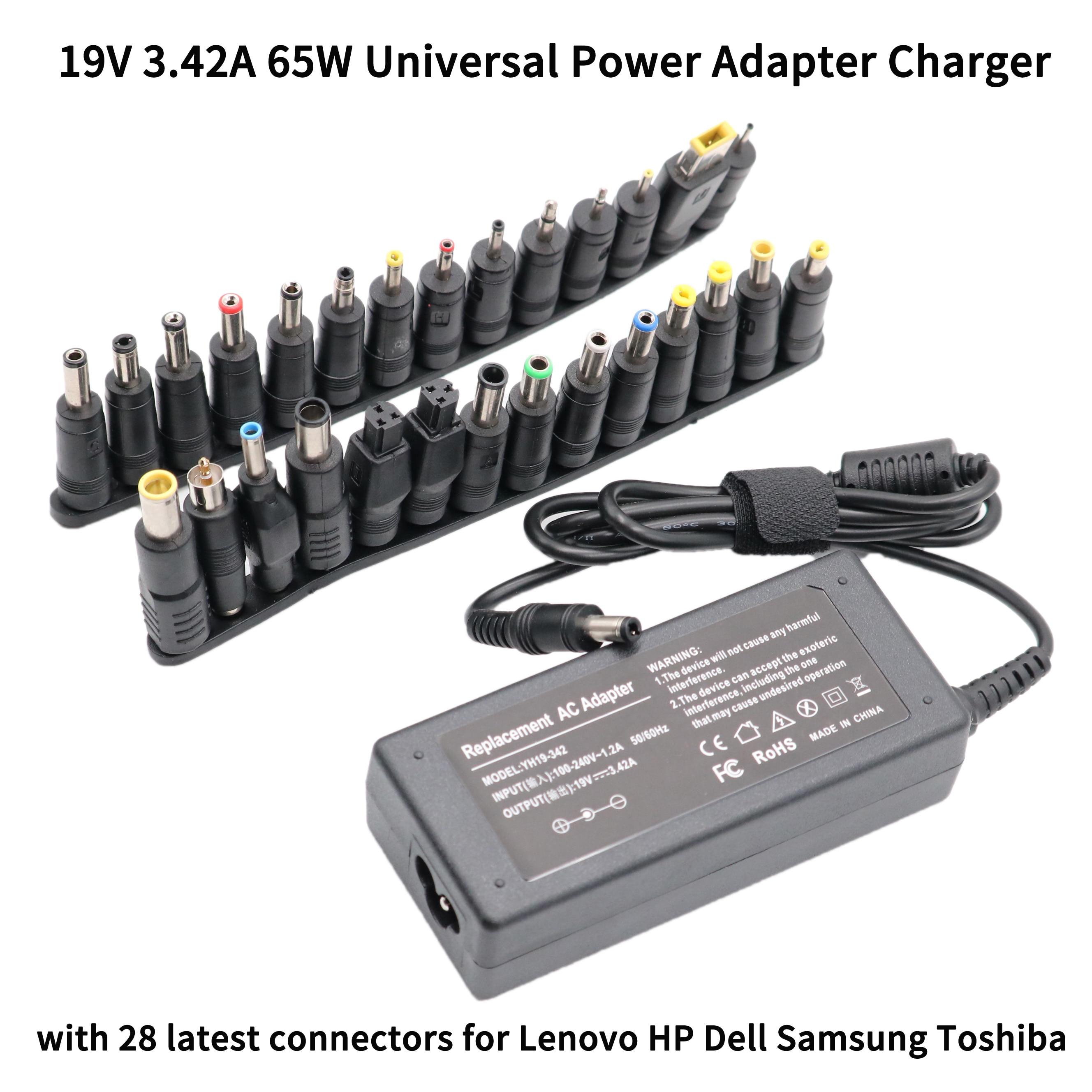 19V 3.42A 65W Universal cargador de adaptador de corriente para Acer Asus Dell HP Lenovo Samsung portátil Toshiba 18,5 V 19,5 V 20V