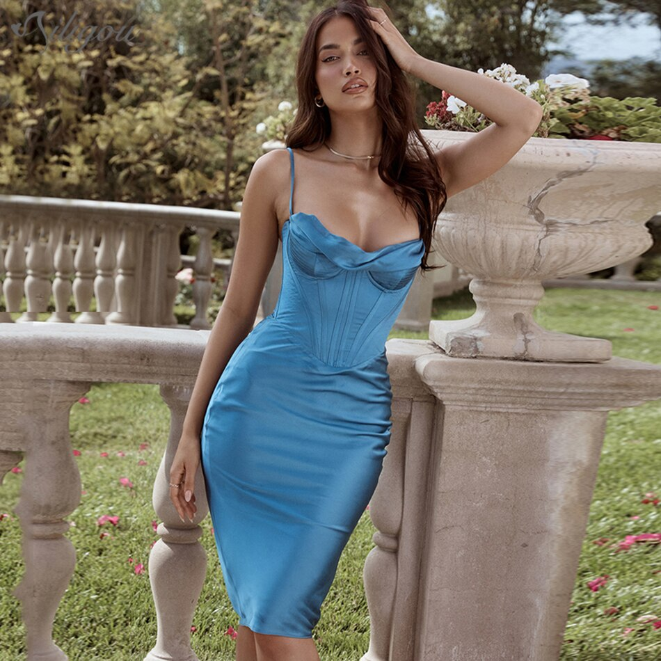 Ailigou موضة جديدة بلون الساتان مثير بلا أكمام حمالة منتصف طول الخصر فستان للسيدات المشاهير حفلة فستان فيستدو