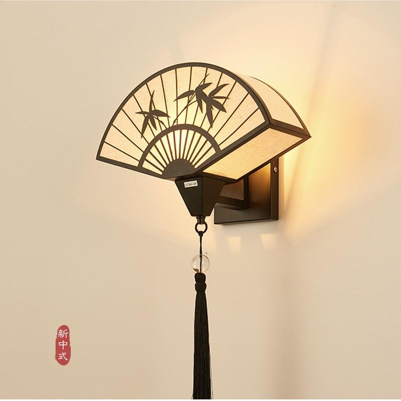 Lámpara de pared China completamente de cobre, lámpara de noche para dormitorio, sala de estar, pasillo de estilo chino, luz de pasillo, pared Zen simple de lujo