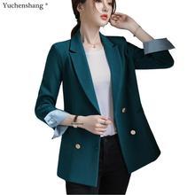 Bouble Breasted Solide Frauen Blazer Mit Taschen Weiblichen Mantel Mode blazer Oberbekleidung hohe qualität Jacken 5XL