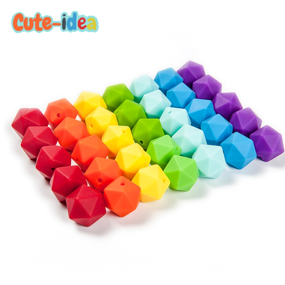 Cute-idea 1000pcs 14mm Icosahedron Silicone Beads Food Grade Baby Teething Beads DIY baby products Toy  Infant Pacifier Chain