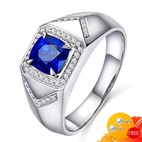 fashion 925 silver jewelry men ring with sapphire zircon gemstones finger rings accessories for male wedding engagement party