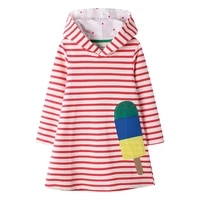 2 7 years baby girl cotton dress long sleeve with hat t shirt striped dress embroidery icecream clothes for toddle kids