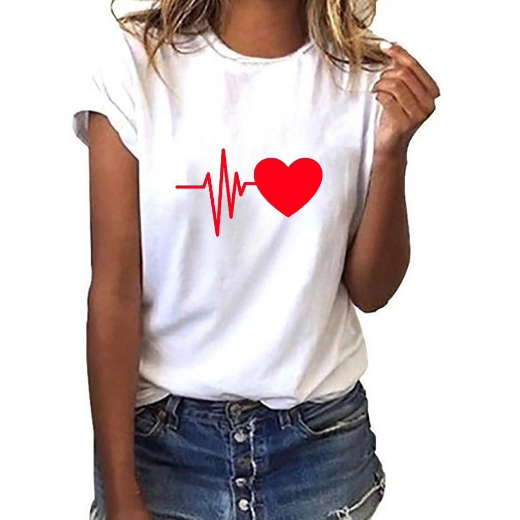 Camisetas de mujer con cuello redondo, camiseta de verano de manga corta, camiseta de mujer Harajuku corazón impreso, camisetas Casuales