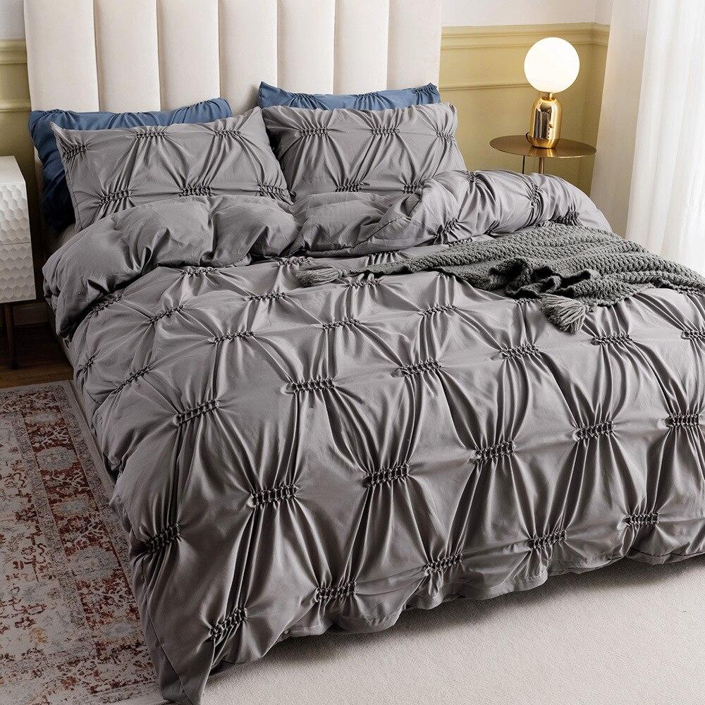 طقم سرير الأوروبي قرصة الطية غطاء سرير فاخر مع المخدة رمادي مجموعة تغطية مبطنة لا ورقة الملكة الملك 2/3 قطعة ديكور غرفة نوم