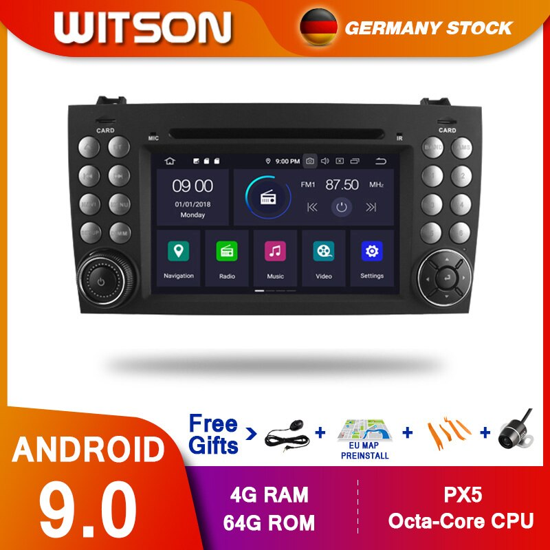 ¡DE STOCK! WITSON PX5 Android 9,0 DPS DVD del coche para Benz R171 W171 Benz Clase SLK R171 SLK200 reproductor GPS Octa Core 4GB RAM + 8 GB 64