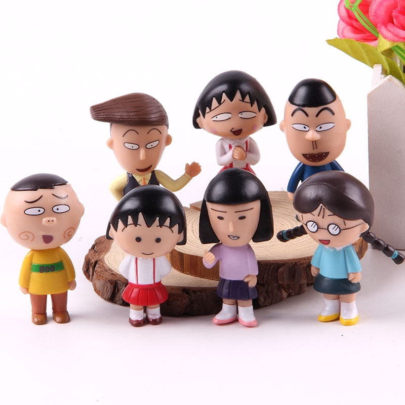 Chibi Maruko Anime figuras de acción Sakura Momoko Honami Tamae Nyan Hanawa. Kazuhiko Mini muñecas de colección modelo de juguete 7 unids/set