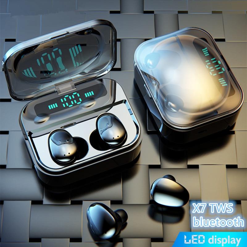 سماعة بلوتوث TWS5.0 ، سماعة رأس لاسلكية تعمل باللمس مع شاشة LED ، IPX7 مقاوم للماء ، ستيريو 8D ، HiFi ، مع بنك طاقة