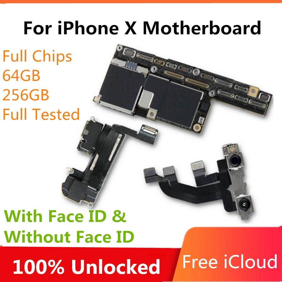 Placa base para iPhone X con cara ID 64GB 256GB para iPhone X placa madre sin cara ID con IOS Chips completos placa lógica buena