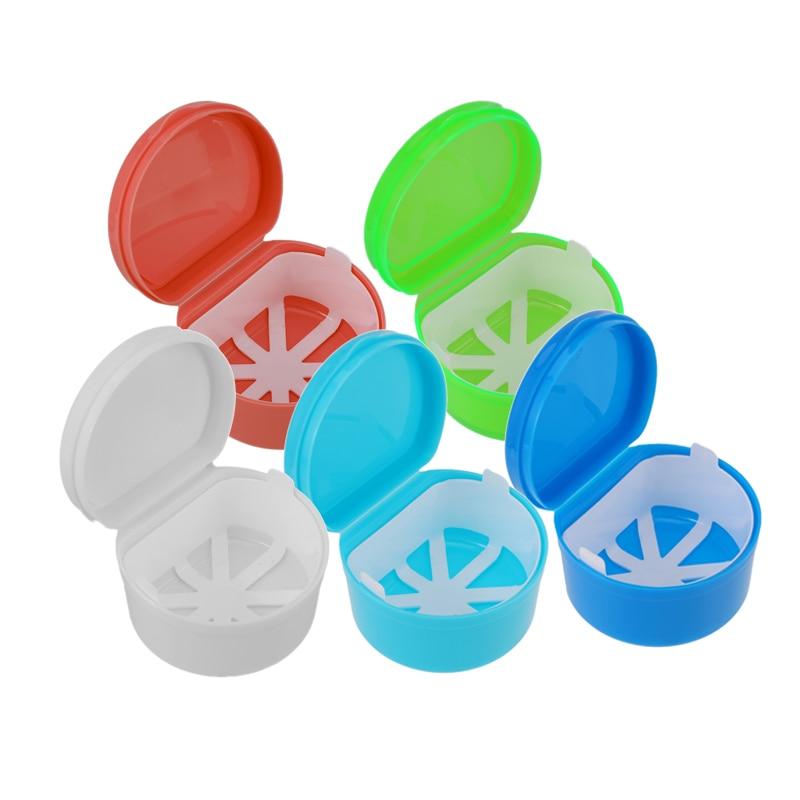 Portátil dentadura caso contenedor Dental Caja de almacenaje para dentadura postiza titular dientes enjuague cesta con colgante neto herramienta Oral cuidado