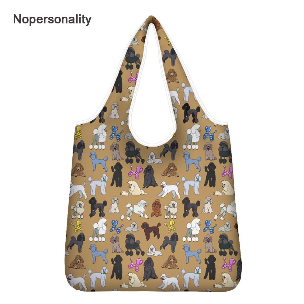 Pomeranian cão quadrado saco de compras eco-friendly dobrável reutilizável portátil bolsa de ombro poliéster para viagem sacos de mercearia