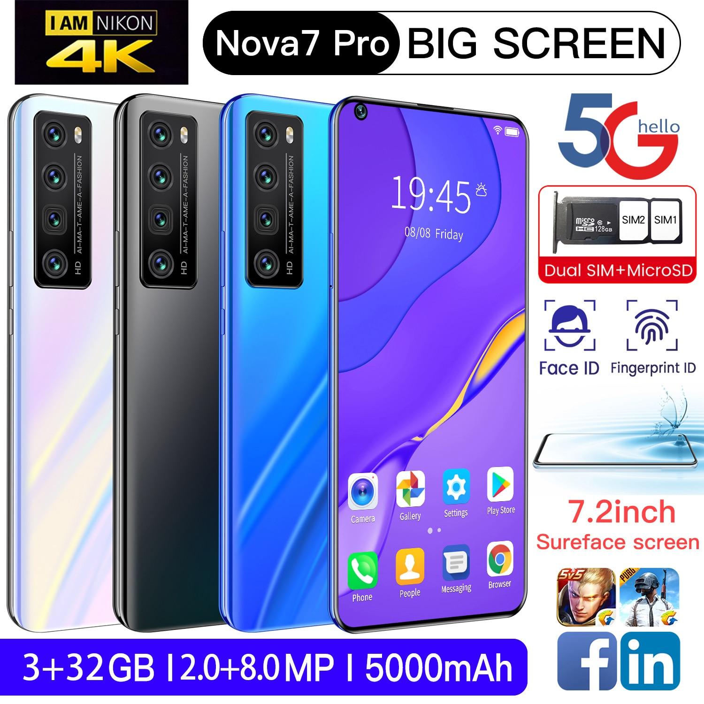 Global Version Huawie Nova 7 Pro 7.2 Inch Screen Smartphone Android 10 3GB RAM 32GB ROM Unlocked Mobilephone Celular Cellphone