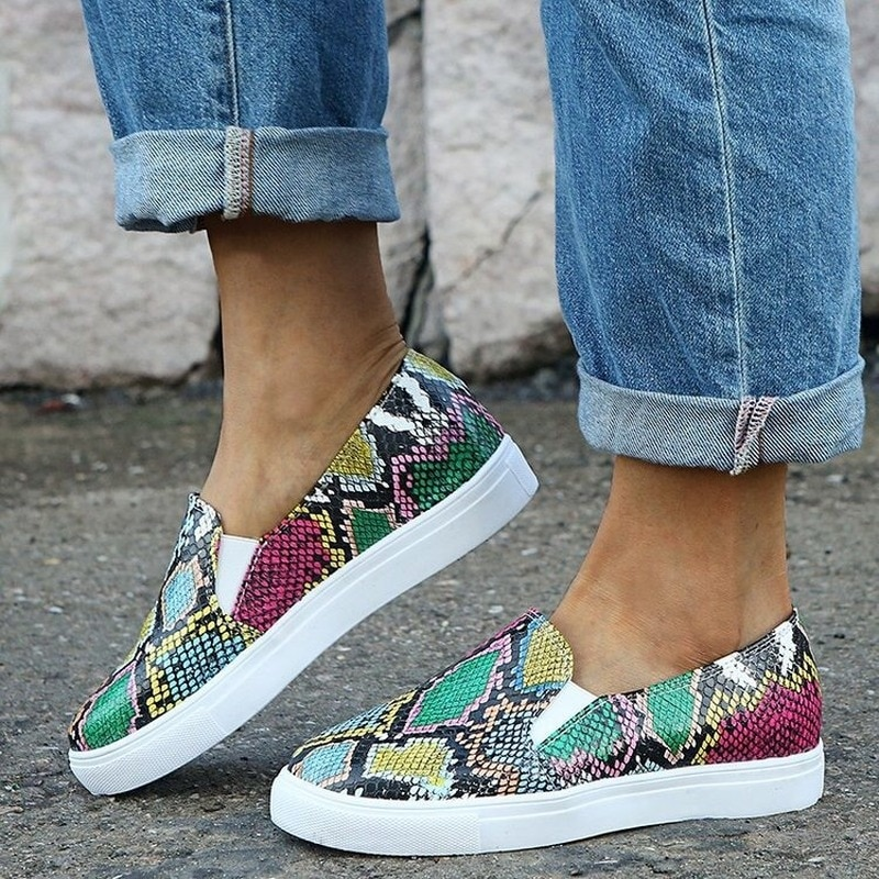 Women Casual Shoes Spring Autumn Woman Loafers Big Size Breathable Serpentine Flat Female Footwear Slip-on Outside Fashion Flats