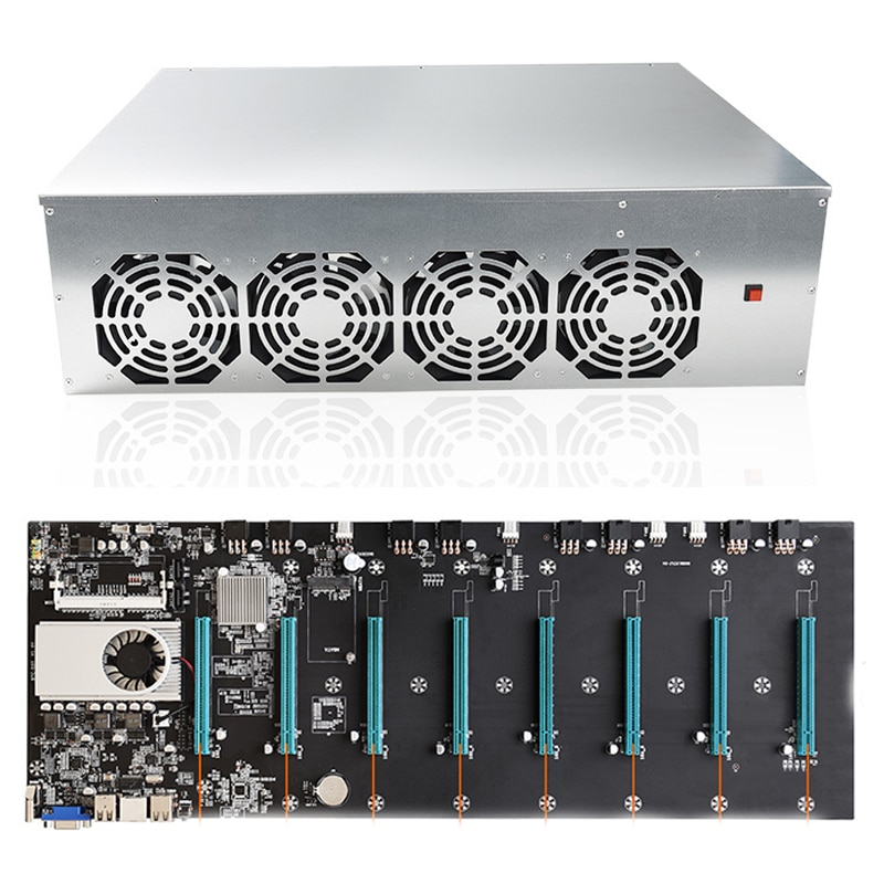 1 set BTC-S37 T37 D37 Mining Chassis Combo 8 GPU Bitcoin Crypto Ethereum BTC Mining rig Motherboard with 4 Fans for BTC T37 D37