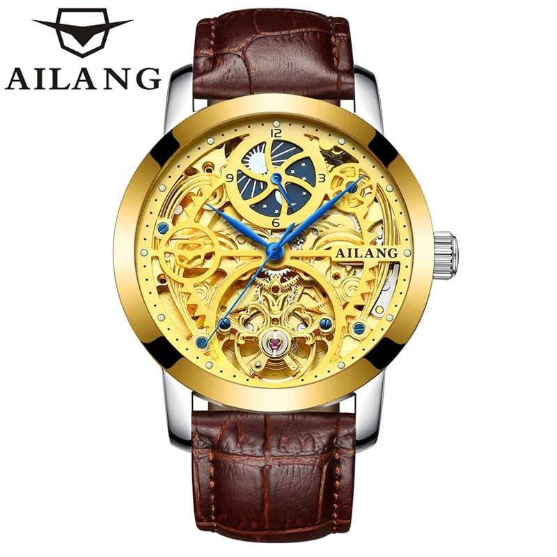 AILANG 2021 New Men's Watch Business Casual 50M Life Waterproof Hollow Fully Automatic Mechanical Leather Strap Watches 6812A