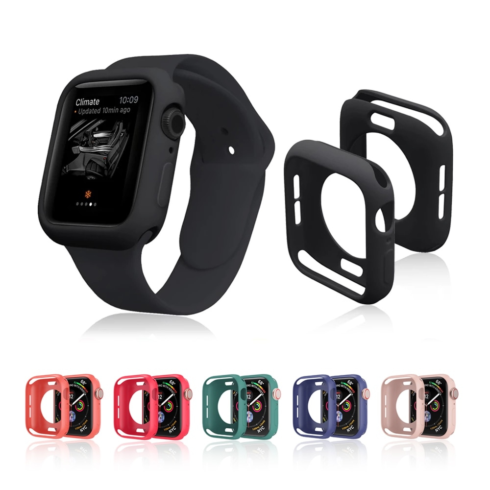 case for apple watch se 6 5 4 3 2 1 38mm 40mm watch cover protective case carbon fiber pattern pc case for iwatch 6 se 42mm 44mm Candy Color Soft TPU Case for Apple Watch SE 6/5/4/3/2/1 38MM 40MM Protective Case for iwatch Series 42MM 44MM Watch Case