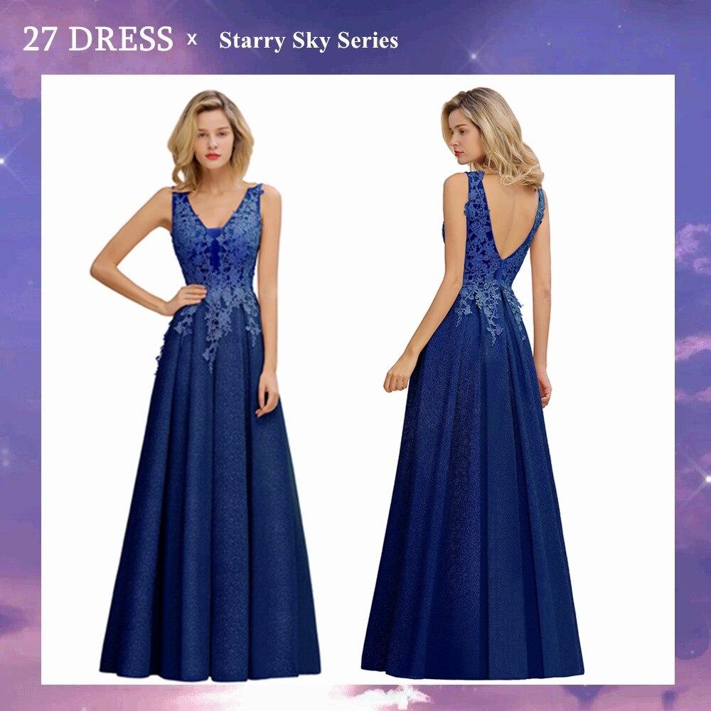Royal blue Long Lace Bridesmaid Dresses V-neck Sexy Women Vestido Wedding Party Dress robe de soirée de mariage vetement femme недорого