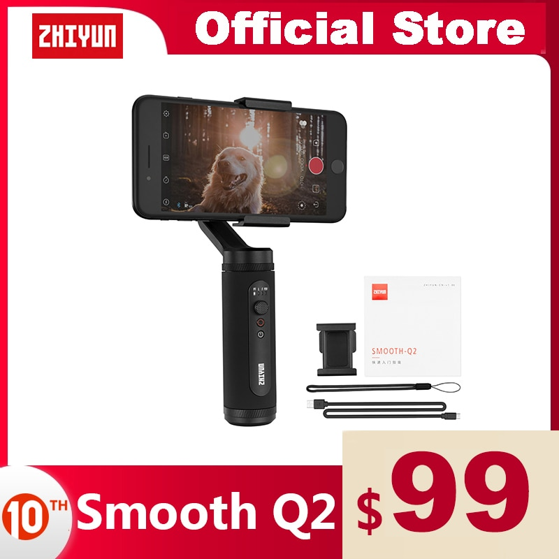 ZHIYUN Official SMOOTH Q2 Phone Gimbal 3-Axis Pocket-Size Handheld Stabilizer for Smartphone iPhone Samsung HUAWEI Xiaomi Vlog
