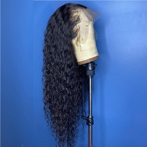 Glueless Preplucked Soft Loose Curly Wigs Lace Front Wigs With Baby Hair Natural Black Color Synthetic Wigs For Women Daily Wig