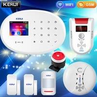 KERUI     systeme dalarme de securite domestique W20  wi-fi  GSM  panneau tactile 2 4    application  capteur de porte  capteur de mouvement a infrarouge  capteur de fumee