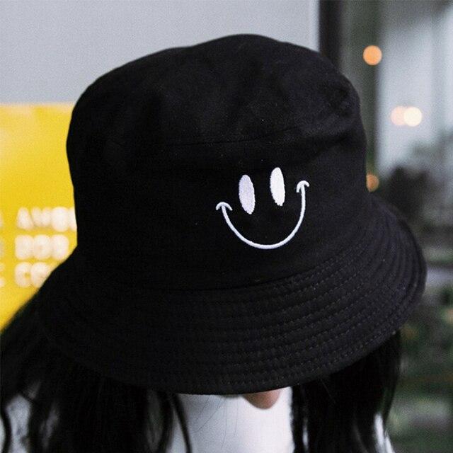 1PC Women Smile Bucket Hat Double Sided Bucket Hat Smiling Face Unisex Fashion Bob Cap Hip Hop Gorro Men Summer Cap 8