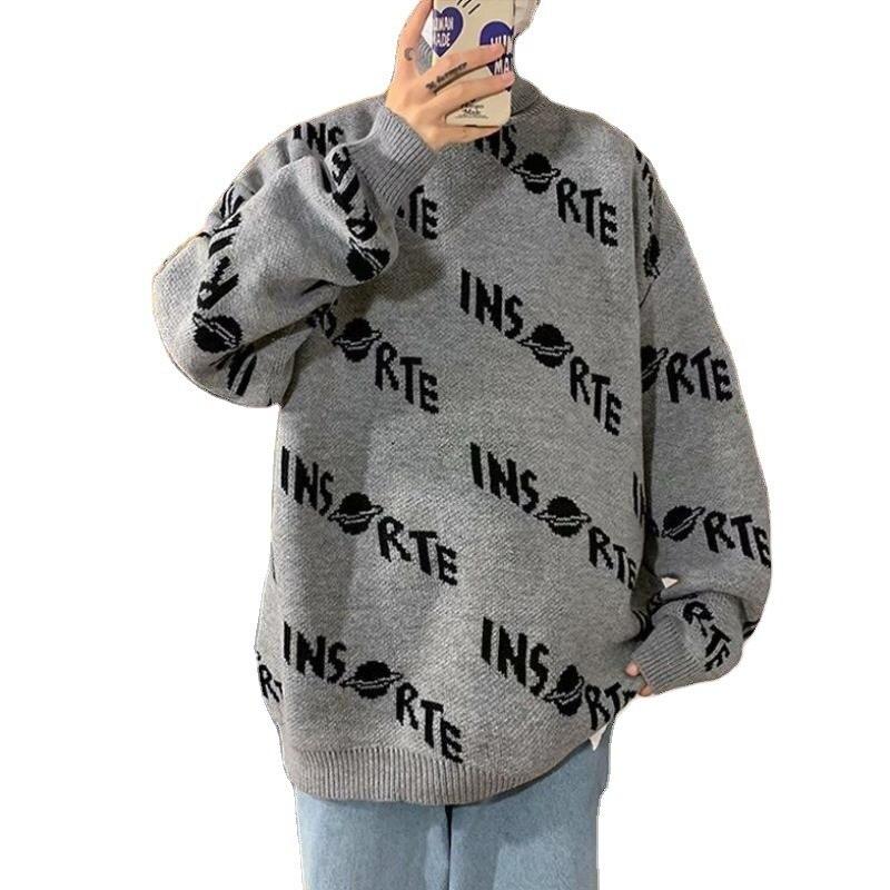 Мужская водолазка в стиле Харадзюку, свитер, вязаная верхняя одежда, пальто, уличная одежда, Свободный пуловер, верхняя одежда, пальто оверс...