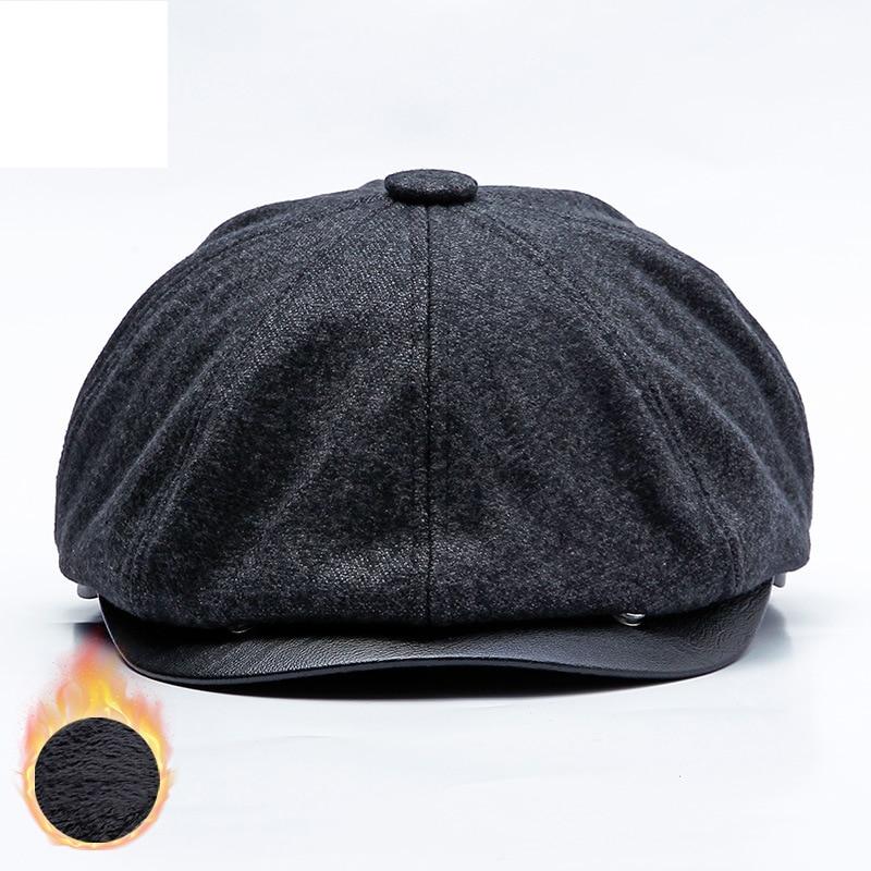 Inverno earflap quente boina chapéu masculino lã octogonal boné newsboy plus veludo feminino estilo britânico peaky blinders osso liso