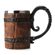 Original Viking Drinking Mug Sealed Simulation Log Double Stainless Steel Mug Gift Home Cup Wood Color