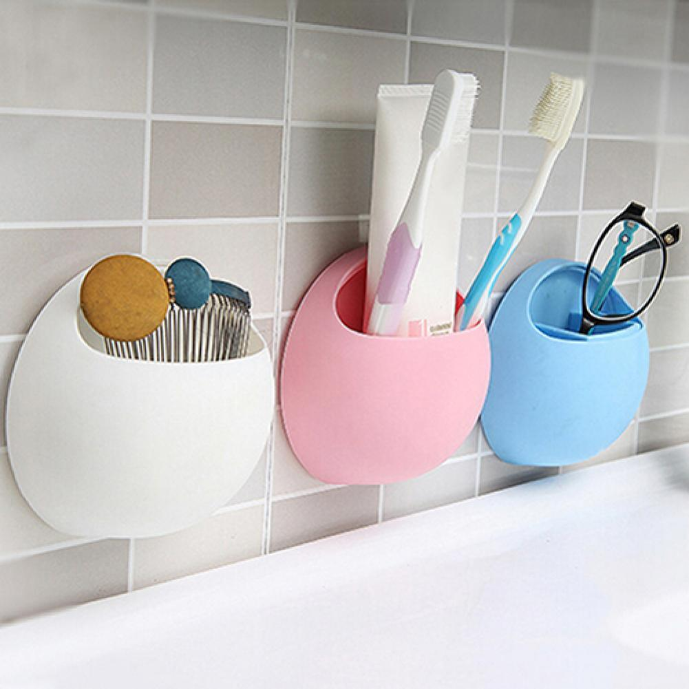 1pc Bathroom Accessories Useful Plastic Home Bathroom Toothbrush Holder Wall Mount Holder for Sucker Suction Cups Organizer tool