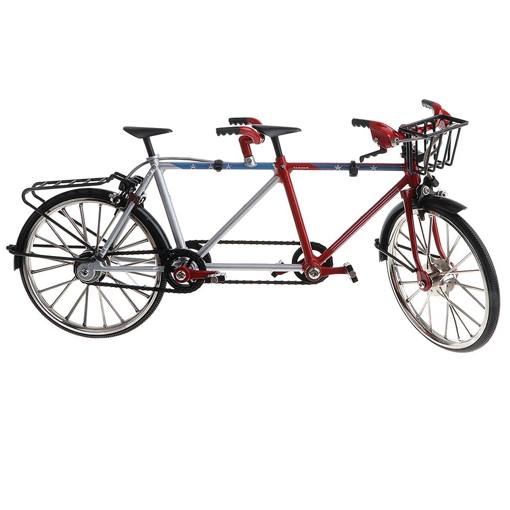 110 liga em tandem bicicleta diecase modelo figura vitrine exibição coleção brinquedo ornamento desktop preto
