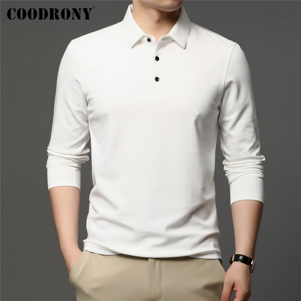 AliExpress - COODRONY Brand Spring Autumn New Arrivals High Quality Pure Color Business Casual Long Sleeve Polo-Shirt Men Clothing Tops C5050