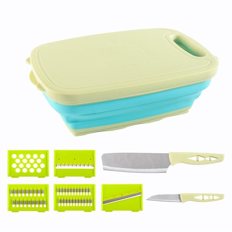 QueenTime Kitchen Cutting Board Set Foldable Drain Basket Kitchen Knife Set Vegetable Kitchen Chopping Board Fruit Drain Basket