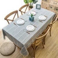 nordic linen tablecloth with tassel waterproof thicken rectangular wedding decoration dining table cover tea table cloth