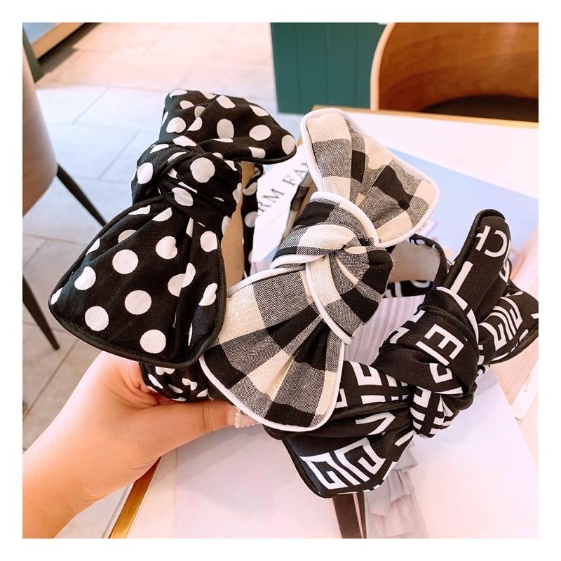 Women's Bow Headband Classic Black and White Retro Polka Dot Stripe Simple Hair Strap Hair Accessories