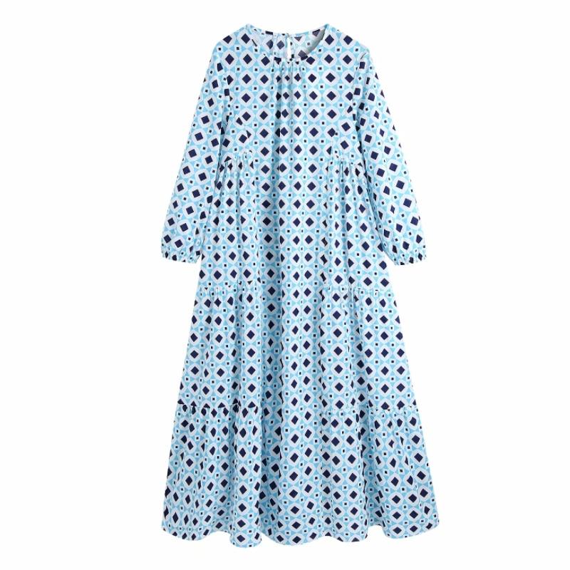 فستان ميدي نسائي صيفي مزين بطباعة هندسية فستان نسائي بأكمام تسعة أرباع فستان نسائي فضفاض غير رسمي D7679
