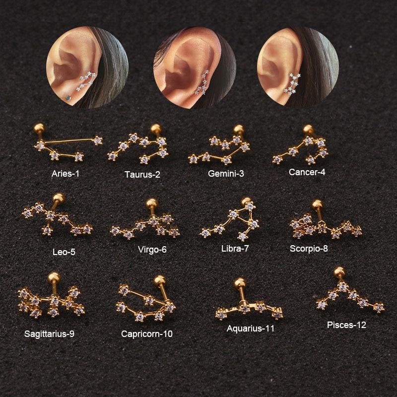 1Pc  Fashion Twelve Constellations Steel Daith Earring Ear Piercing Barbell CZ Horoscope  Ear Tragus Daith Piercing Jewelry 20G