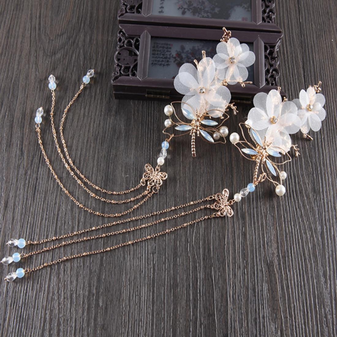 Artesanía nupcial borla regalo Hada antigua Floral chino horquilla lateral Clip tocado elegante hecho a mano libélula Decoración
